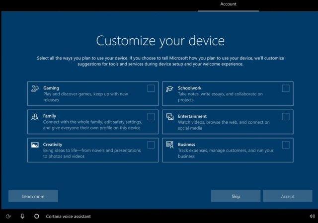 Microsoft, Windows 10 için PC'nizi Nasıl Kullanacaksınız Ekranını Deniyor