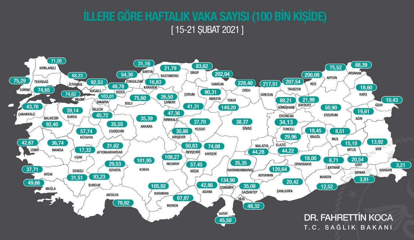 Yeni harita açıklandı: İşte koronavirüsün en az ve en çok görüldüğü iller
